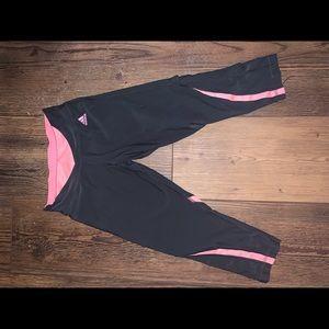 Pink and Grey Cropped Adidas Tights